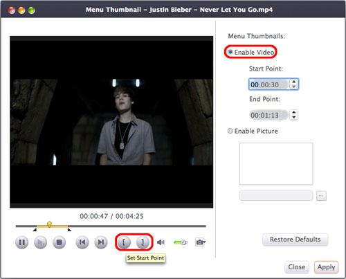 Create title miniatures for DVD menu