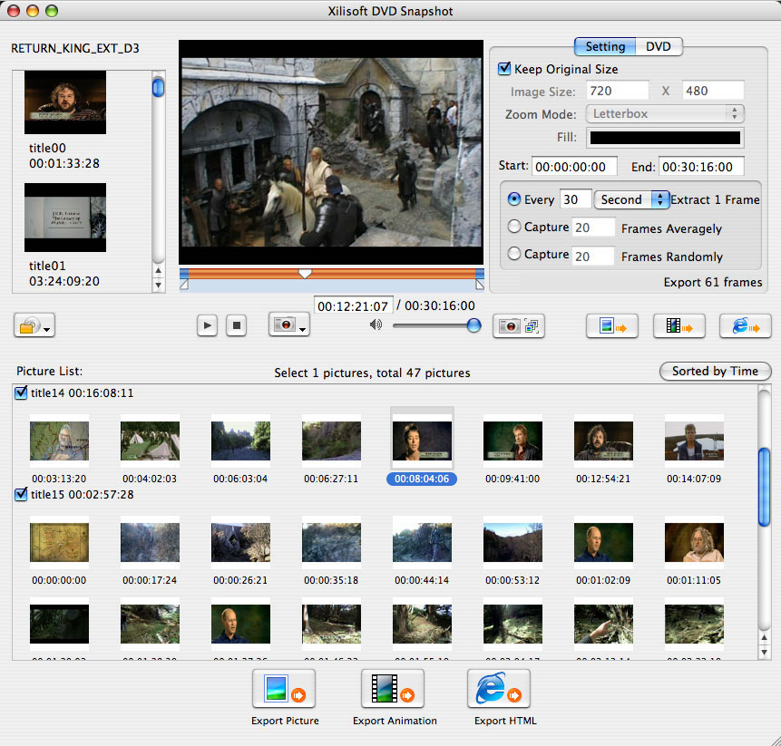 Xilisoft DVD Snapshot for Mac - DVD Picture Capture, DVD Image Capture