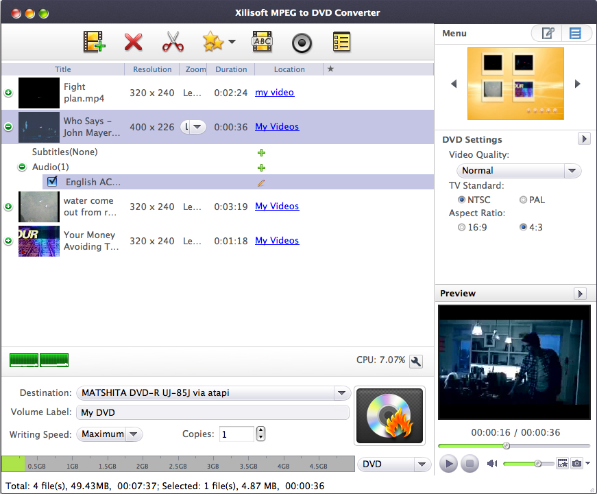 Xilisoft MPEG to DVD Converter for Mac